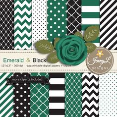 Emerald and Black Digital Paper Emerald Green by JennyLDesignsShop