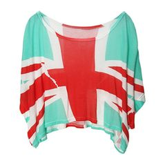 Light-green The UK Flag Print Short Dolman Sleeve Crop T-shirt ❤ liked on Polyvore