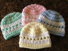 Quick Color-Band Preemie Beanie - I just added another increase row to make it big enough for a newborn (non-preemie) baby.  Worked up quickly and is very cute!