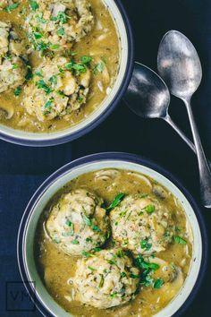 #Vegan Pretzel Dumplings with Mushroom-Sauerkraut Gravy from But I Could Never Go Vegan!   Vegan Miam
