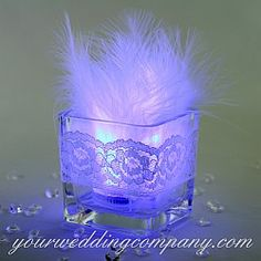 Square Glass Votive Tea Light Holders with LED and Feathers Feather Centerpieces, Wedding Centerpieces, Wedding Favors, Diy Wedding, Wedding Decorations, Candle Decorations, Centrepieces, Wedding Ideas, Wedding Reception
