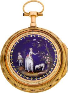Vaucher 18k Gold And Enamel Quarter Repeating Verge Fusee   c. 1800