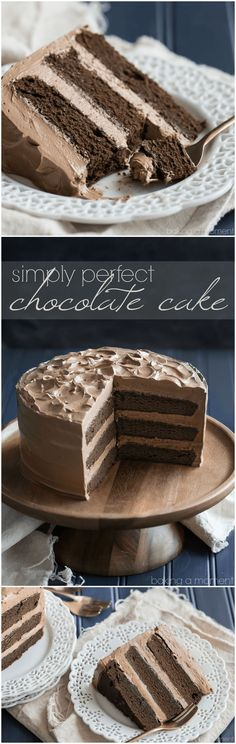Simply Perfect Chocolate Cake: this is the BEST chocolate cake recipe out there…. Simply perfect chocolate cake: This is the BEST recipe for chocolate cake. So easy to prepare, moist and with tons of dark chocolate flavor! Perfect Chocolate Cake, Amazing Chocolate Cake Recipe, Delicious Chocolate, Cupcake Recipes, Cupcake Cakes, Cupcakes, Baking Recipes, Cake Cookies, Layer Cake Recipes