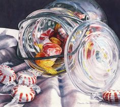 Candy Kaleidoscope by Marsha Chandler at the 2017 Under a Vast Sky exhibition Tucson Desert Art Museum Still Life Pictures, Hyper Realistic Paintings, Desert Art, A Level Art, Photorealism, Detail Art, Watercolor Paintings, Watercolor Lesson, Watercolour