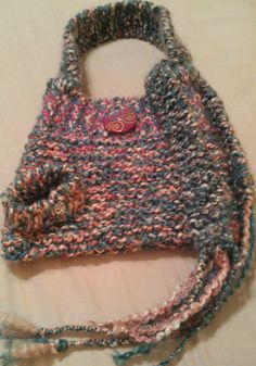 Girl's Pink Blue and White Purse Bag with Free Gift by NadiasKnits, $37.00
