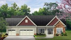 House Plan 54017   Ranch    Plan with 1954 Sq. Ft., 3 Bedrooms, 2 Bathrooms, 3 Car Garage