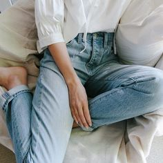 Vintage denim, white blouse