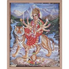 Framed Picture of Goddess Durga Durga Goddess, Marigold, Make It Simple, Picture Frames, Create Your Own, India, Pictures, Painting, Art