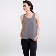 Own in black, might buy slate- The Silk Tank - Slate – Everlane