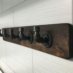 Industrial/Rustic Modern Handmade Wall Hook/Hanger/Rack Towel/Purse/Coat/Robe Pipe/Wood/Bathroom/Workshop/Garage/Mudroom/Office/Gift