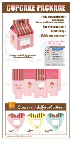 Cupcake Package Template Vector AI. Download here: http://graphicriver.net/item/cupcake-package-/6384381?ref=ksioks