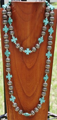 GUG Hand Strung Long Silver Ball and Turquoise Chopper Cross Necklace Set Beaded Jewelry, Jewelry Necklaces, Beaded Necklace, Cross Necklaces, Short Necklace, Necklace Set, Jewelry Booth, Cowgirl Bling, Turquoise Jewelry