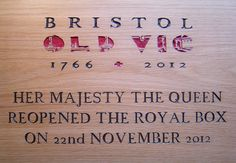 Carved and painted plaque for the Royal box at Bristol Old Vic - what a fantastic day we had! Her Majesty The Queen, Bamboo Cutting Board, Bristol, Theatre, Dan, Carving, Lettering, Signs, How To Make