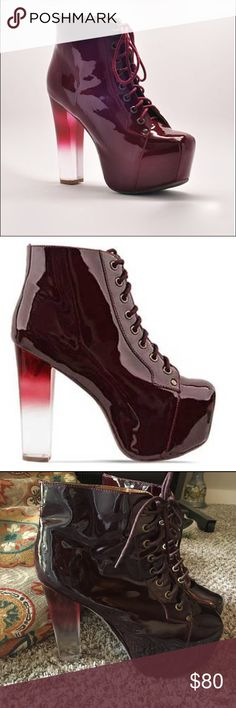 Jeffrey Campbell Gradient Ombre Lita Boots Wine colored, ombré heel lita boots. In good condition. The sole is slightly pulling away from shoe (as pictured), but that is a cheap fix at a shoe hospital. Make me an offer. Jeffrey Campbell Shoes Ankle Boots & Booties