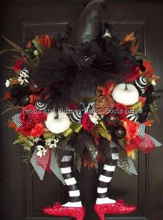 """RESERVED for """"Elise Only"""" -(2nd INSTALLMENT Payment-Balance) Fall Halloween Wicked Witch - OZ Diva Wreath with Ruby Red Slippers"""