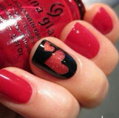 Black Red   23 Cute Valentines Day Nail Art Ideas for Teens