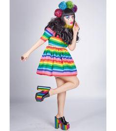 "alexandrametalclown: "" Won't you take me to Clownytown? Pom Pom headband,collar,eyebrows and dress made by me Metallic Rainbow platforms from @yru #AlexandraMetalClown #yru #rainbow #platforms #clown #pompoms #yrushoes #madebyme #photoshoot..."