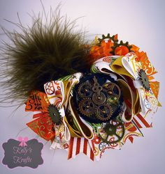 Ott hair bow/ 4.5 hair bow/ steam punk hair bow / gears