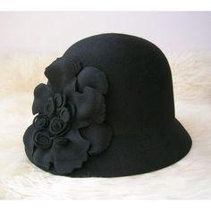 Women Black Wool Formal Church Dress Bucket Hat SKU-158250