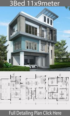 Home design plan with 3 bedrooms. Three-storey house Modern Contemporary style Designed to be a semi-home office That provides usable space Perfectly Minimalist House Design, Minimalist Home, Home Design Plans, Plan Design, Two Bedroom House, Small House Decorating, Modern Contemporary Homes, Apartment Layout, My Dream Home