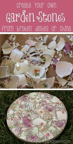 Tutorial on how to take broken dishes and create beautiful garden stones. @Lisa Phillips-Barton Phillips-Barton Phillips-Barton Phillips-Barton Audino