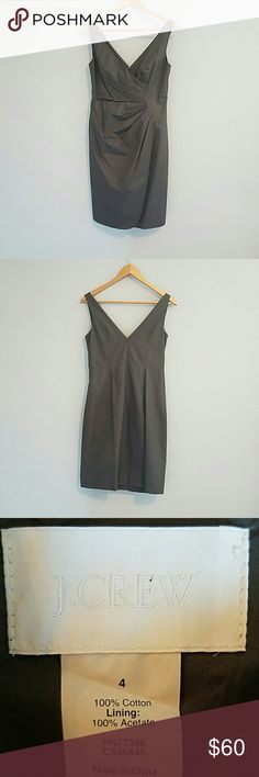 J.Crew size 4 excellent condition grey party dress Beautiful 100% cotton, fully lined, machine washable J.Crew, size 4 party dress. V-neck, zip with clasp closure in back. Cute faux wrap style in front (shown in picture 4). Perfect for a fall/winter wedding or holiday parties! J. Crew Dresses