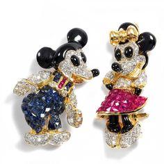 Micky und Minnie - Ein kostbares Paar vintage Diamant, Saphir und Rubin Anhänger-Broschen in Gold, um 1990 von Hofer Antikschmuck aus Berlin // #hoferantikschmuck #antik #schmuck #antique #jewellery #jewelry