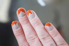 grey + orange wavy french manicure using nail stickers