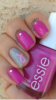 Pink nails for breast cancer | See more nail designs at http://www.nailsss.com/acrylic-nails-ideas/2/