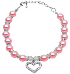 Don't Forget Valentine's Day! Choose this Adorable Pearl and Heart Necklace for Your Fur Baby!