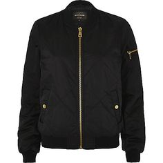 Black quilted satin bomber jacket - bomber jackets - coats / jackets - women