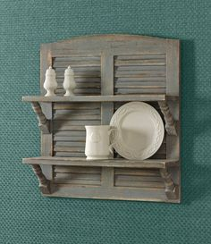 Double Shutter Shelf Aged Gray by Park Designs - The Effective Pictures We Offer You About shutters repurposed office A quality picture can tell yo - Shutter Shelf, Shutter Decor, Repurposed Furniture, Rustic Furniture, Country Decor, Rustic Decor, Primitive Decor, Country Primitive, Coastal Decor
