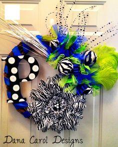 Bedroom door wreath with inital and zebra print