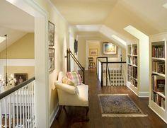 built in book shelves under eaves