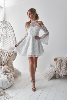 A-Line High Neck Bell Sleeves Cold Shoulder Above-Knee White Homecoming Dress ad. fashion bell sleeves homecoming dress, elegant white lace homecoming dress, chic A-line short party dress, modern cold shoulder summer dress White Homecoming Dresses, Hoco Dresses, Cute Dresses, Pretty Dresses For Teens, Sexy Dresses, Semi Formal Dresses For Teens, Prom Dress, Evening Dresses, Casual Dresses