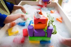 Jack and the Beanstalk sensory play. Build the Giant's castle in the clouds!