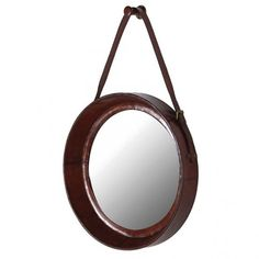 This masculine round leather mirror is a great finishing touch to an interior space. The robust leather strap, paired with the thick leather frame will create the statement you're after. Round Hanging Mirror, Round Mirrors, Mirror Mirror, Mirrors With Leather Straps, Leather Wall, Tan Leather, Bedroom Accessories, Equestrian, Furniture
