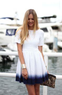White knit dip dye dress