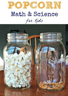 Hands-on science + math -- Awesome idea for the day of school, too. Using popcorn to explore basic math and science concepts! Science Activities For Kids, Preschool Science, Elementary Science, Math For Kids, Science Experiments Kids, Science Classroom, Science Lessons, Teaching Science, Stem Activities