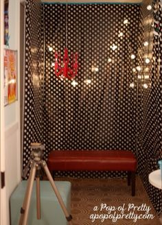 DIY Photo or video Booth: 3 tablecloths (Dollar store) Lighting (Walmart) Tape (Dollar store) Props (Dollar store) Camera and Tripod