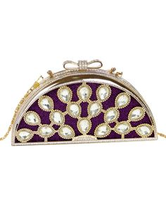 Purple Gold Chain Diamond Peacock Clutch Bag - Sheinside.com