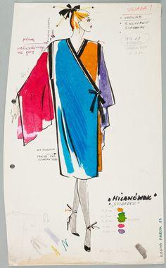 "Kalina Paroll, ""Moda Polska"", Projekt sukni, 1983, wł. MNK #PRL #Moda Polska #Polish Fashion #Kalina Paroll Retro Vintage, Fashion Dresses, Vintage Fashion, Illustration, Poster, Fashion Design, Blue, Art, 80s Fashion"