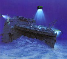 ¿A que profundidad descansa el Titanic? Se encuentra a casi 4000 metros de profundidad. La proa descansa a unos 600 metros de la popa que esta rodeada de multitud de restos del barco.