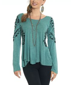 Look at this Luv2Luv Teal & Gray Floral Swing Top on #zulily today!