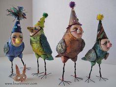 Beautiful art techniques and figures by Lisa Renner Paper Mache Sculpture, Bird Sculpture, Ceramic Animals, Ceramic Art, Bird People, Clay Birds, 3d Figures, Spirited Art, Paperclay