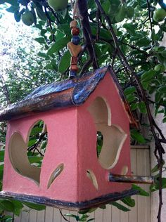 Whimsical Heart Birdhouse by creativebranch1 on Etsy, $30.00