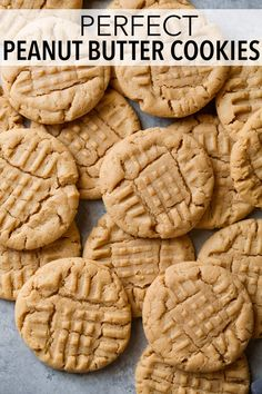 Peanut Butter Cookies - this is my go-to peanut butter cookie recipe, they turn out perfect every time! Soft and deliciously peanut buttery! #peanutbutter #cookies #dessert #recipe