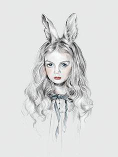 'Alice ate the wrong mushroom'. Giclée Konsttryck av Jennifer Madden