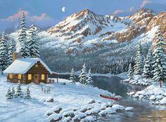 Hideaway-Cabin by Persis Clayton Weirs Dream Pictures, Winter Pictures, Nature Pictures, Cool Pictures, Winter Scene Paintings, Winter Painting, Christmas Paintings, Winter Landscape, Landscape Art