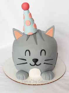 Birthday Kitty Cat Cake Torta Disney Fondant Cakes Cupcake